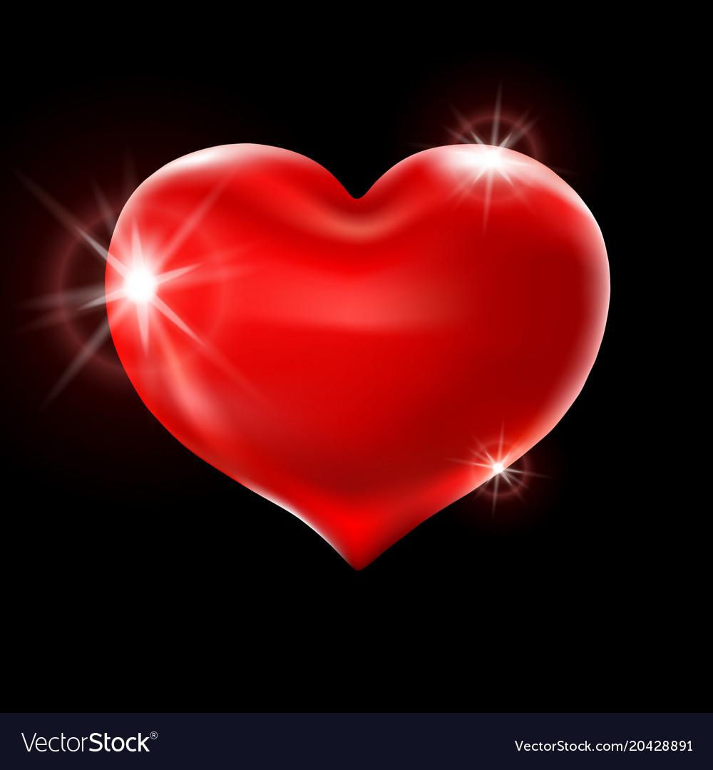 Big red heart on a black background celebration Vector Image