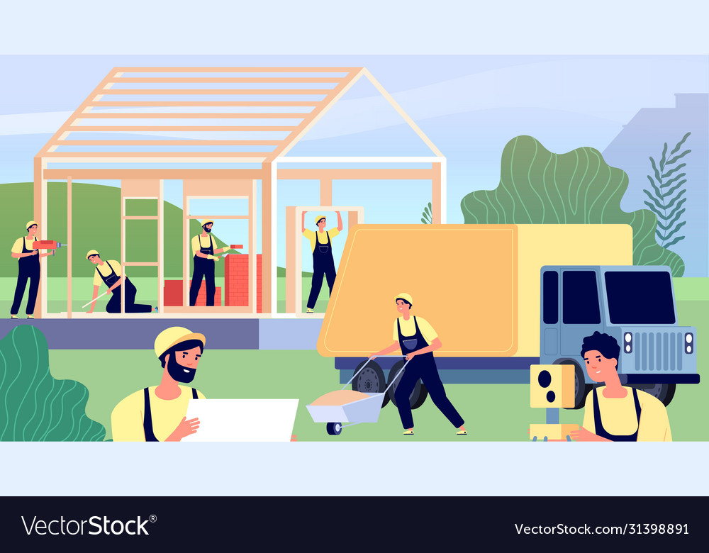 Builders building house construction worker