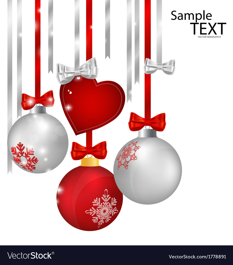 christmas decorations with ribbon and bow vector image - Christmas Decorations Bows
