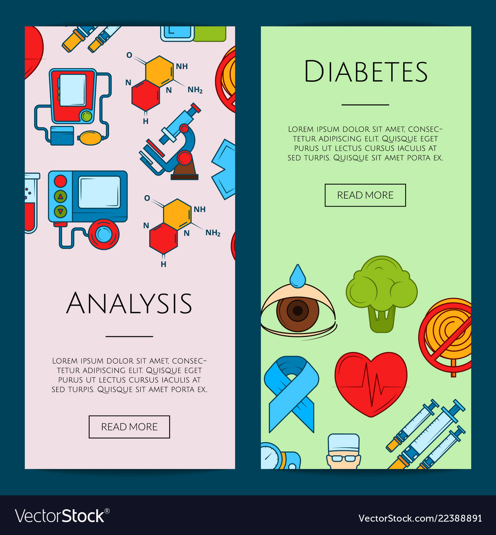 Colored diabetes icons web banner