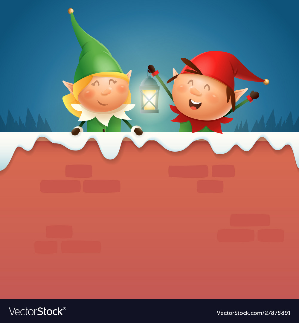 Elves girl and boy with lantern on snowy wall