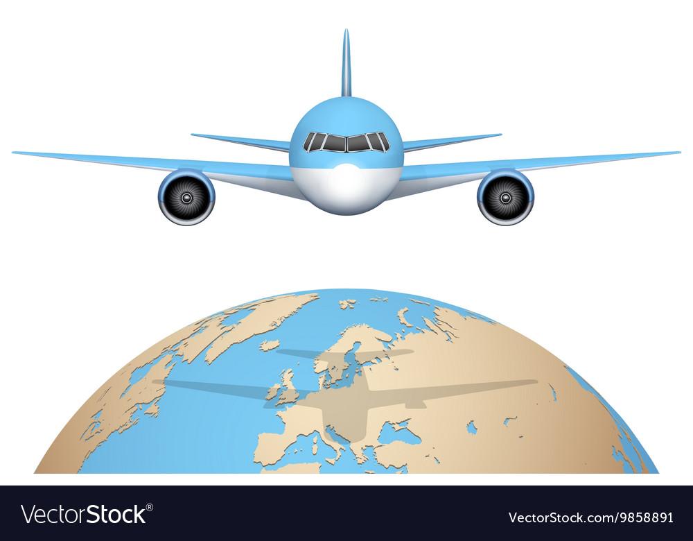 Plane flies over globe