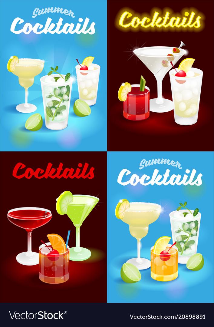 Set summer cocktails poster