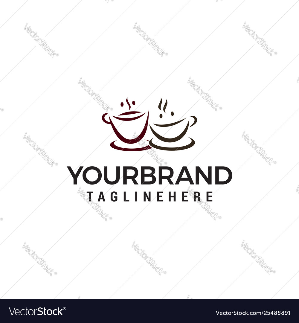 Two cup coffee logo design concept template