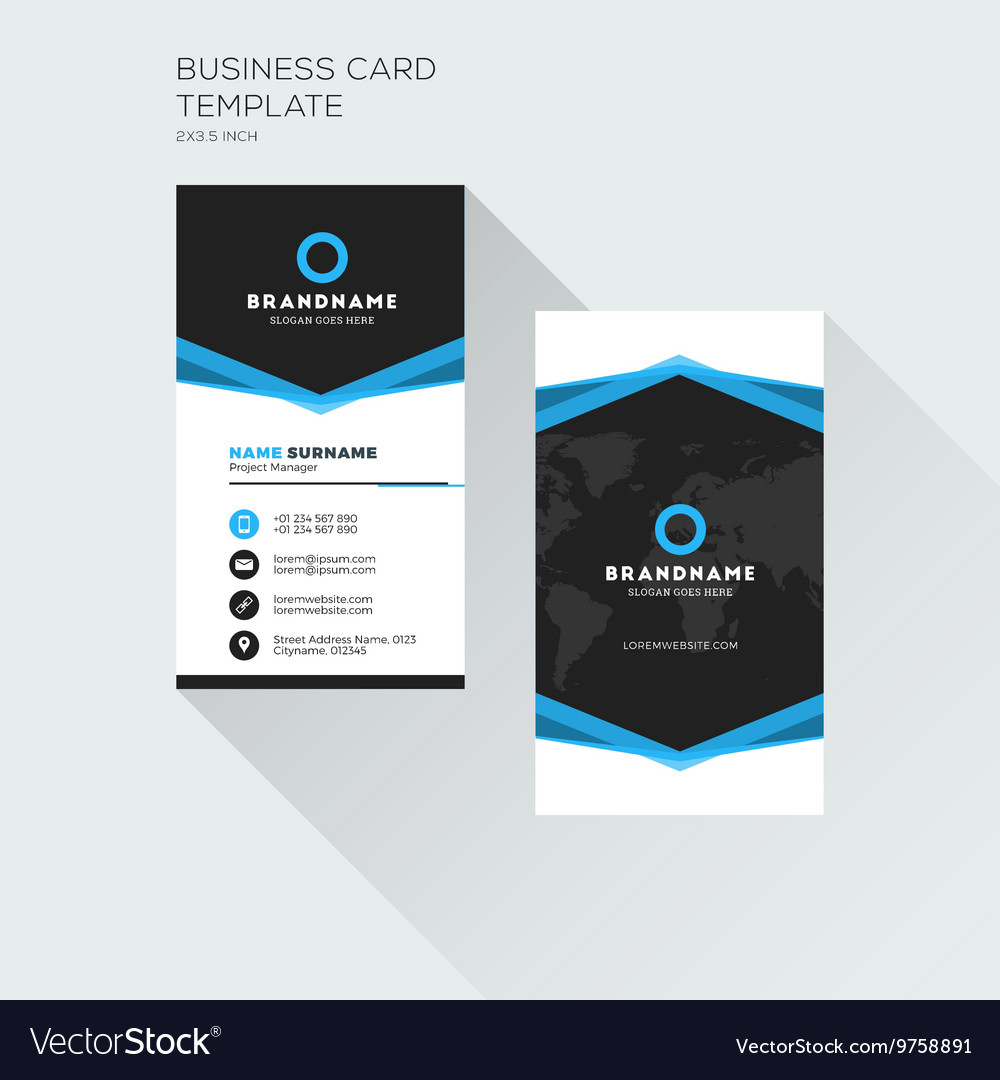 Vertical business card print template personal vector image fbccfo Gallery