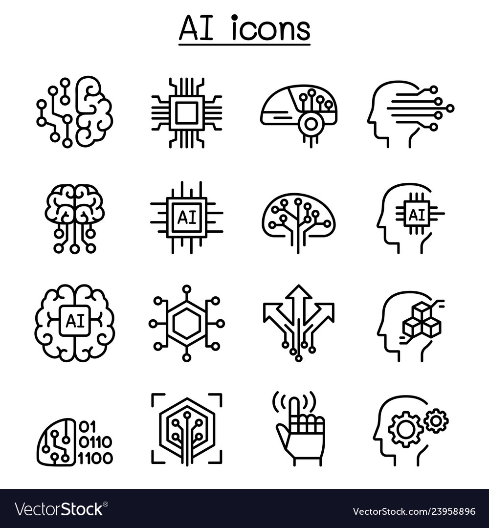 Ai artificial intelligence icon set in thin line