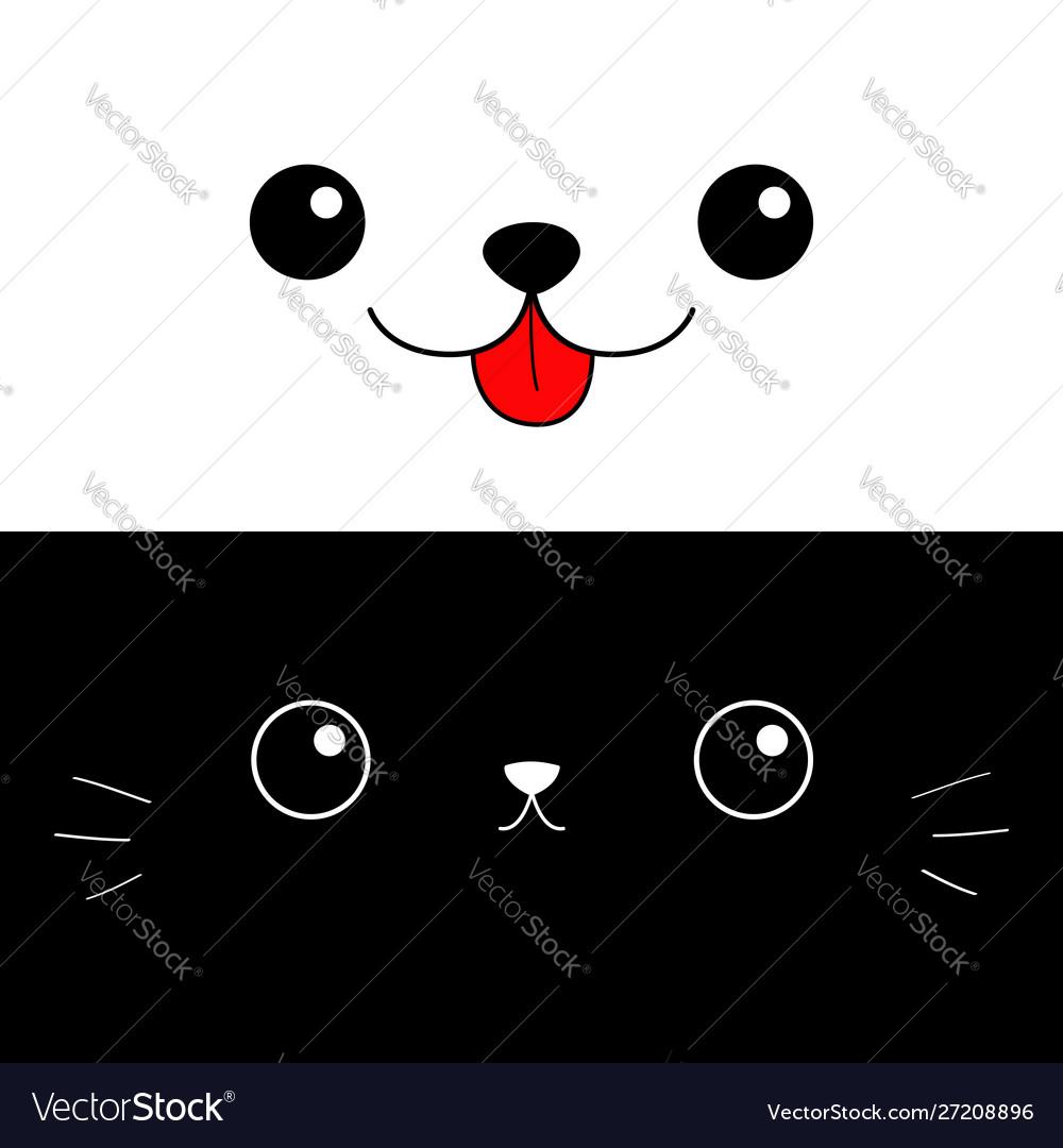 Cat dog eyes nose moustaches tongue cute cartoon