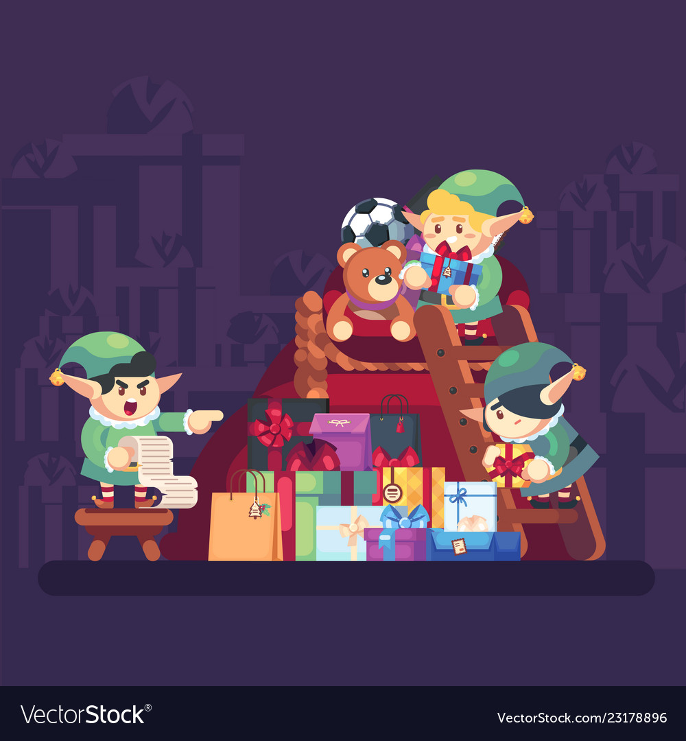 Elf carrying present into bag with gifts merry