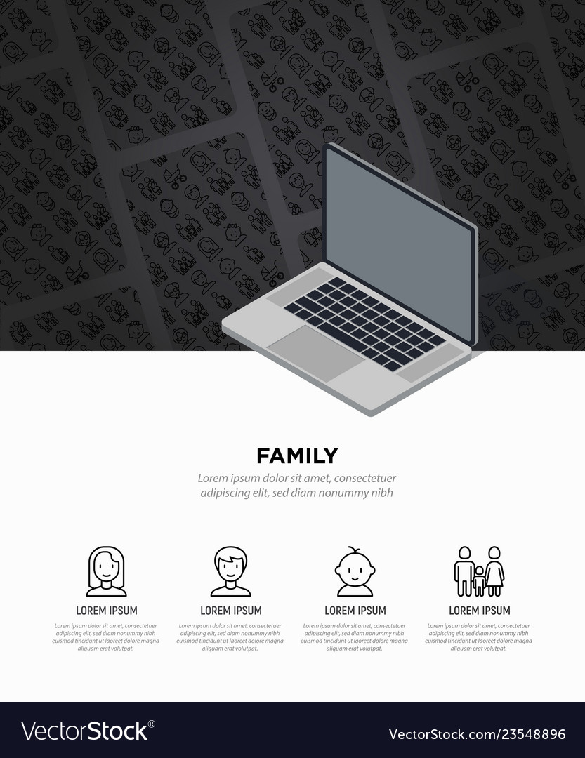 Family concept with thin line icons
