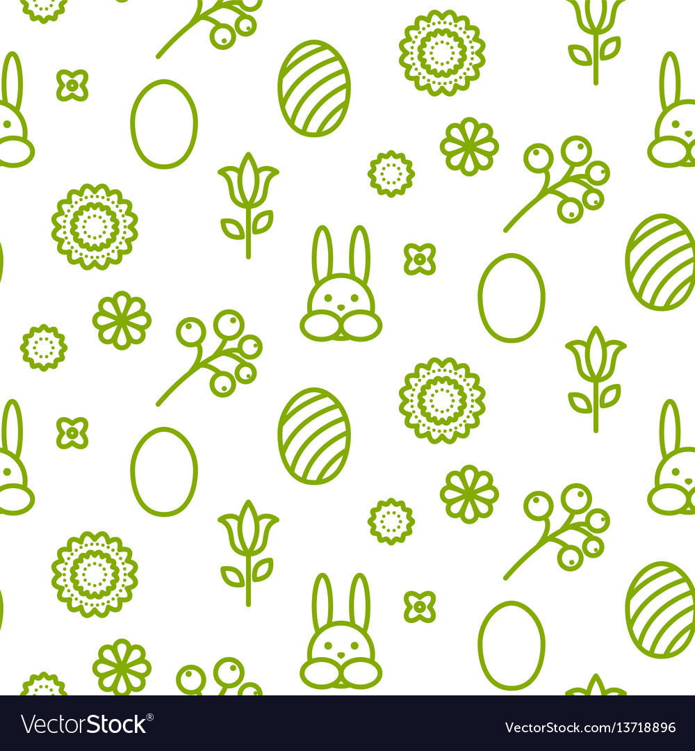 Happy easter outline icon seamless pattern