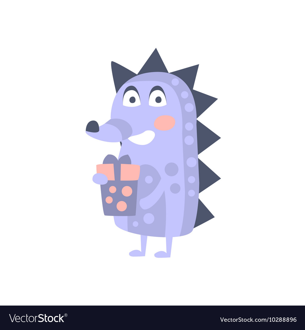 Hedgehog With Party Attributes Girly Stylized vector image