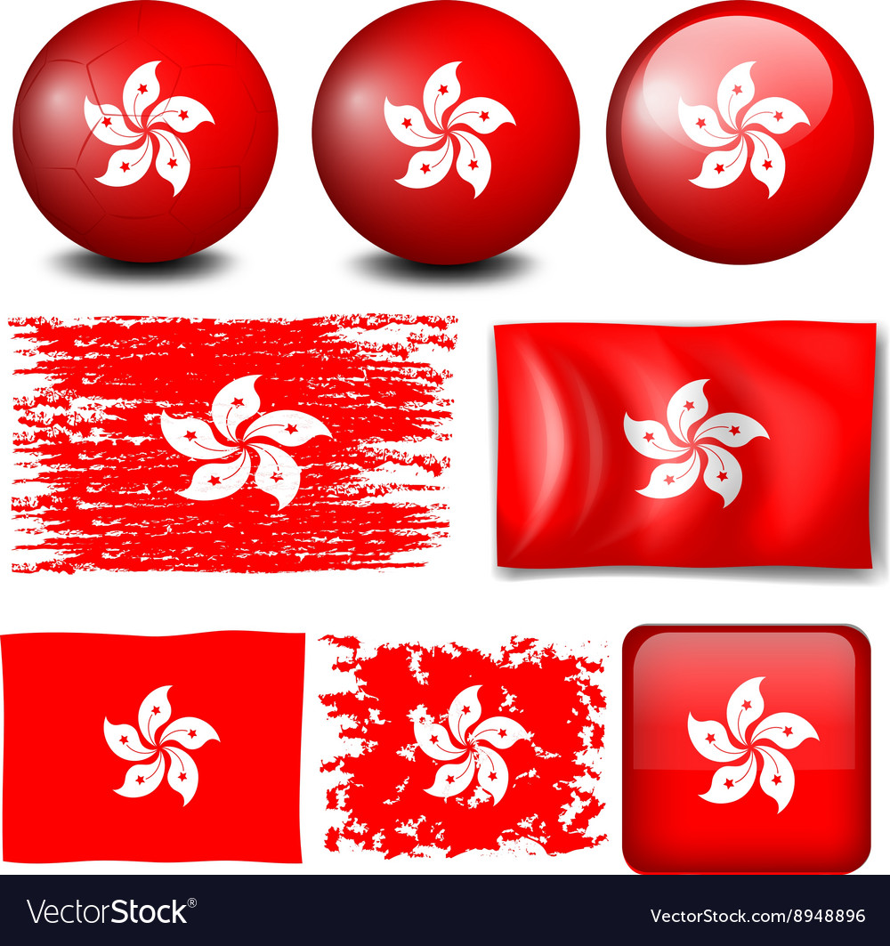 Hong Kong flag on many objects vector image