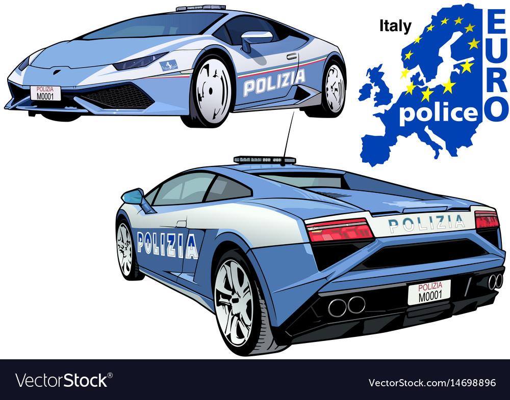 Italy Police Car Royalty Free Vector Image Vectorstock