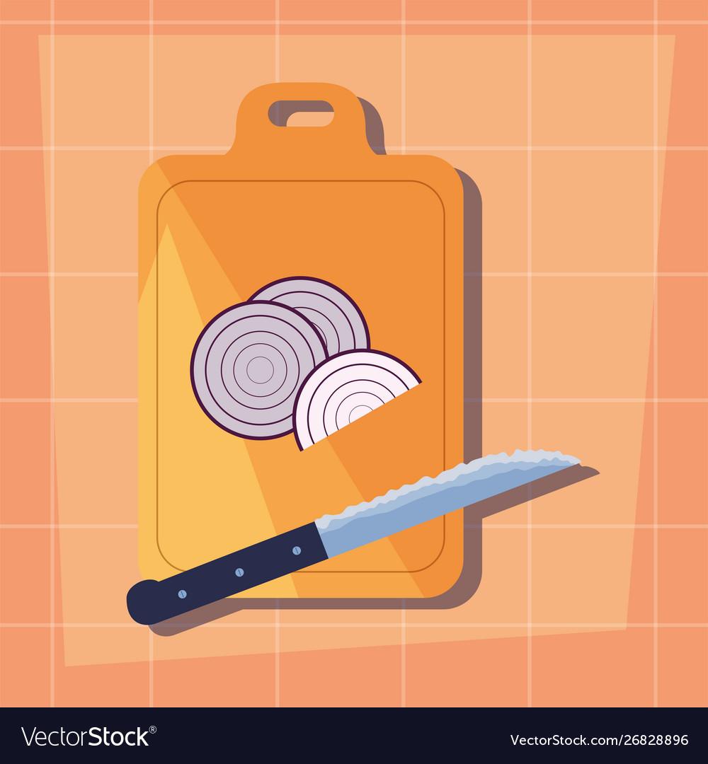 Onion Cutting Board Knife Preparation Cooking Flat