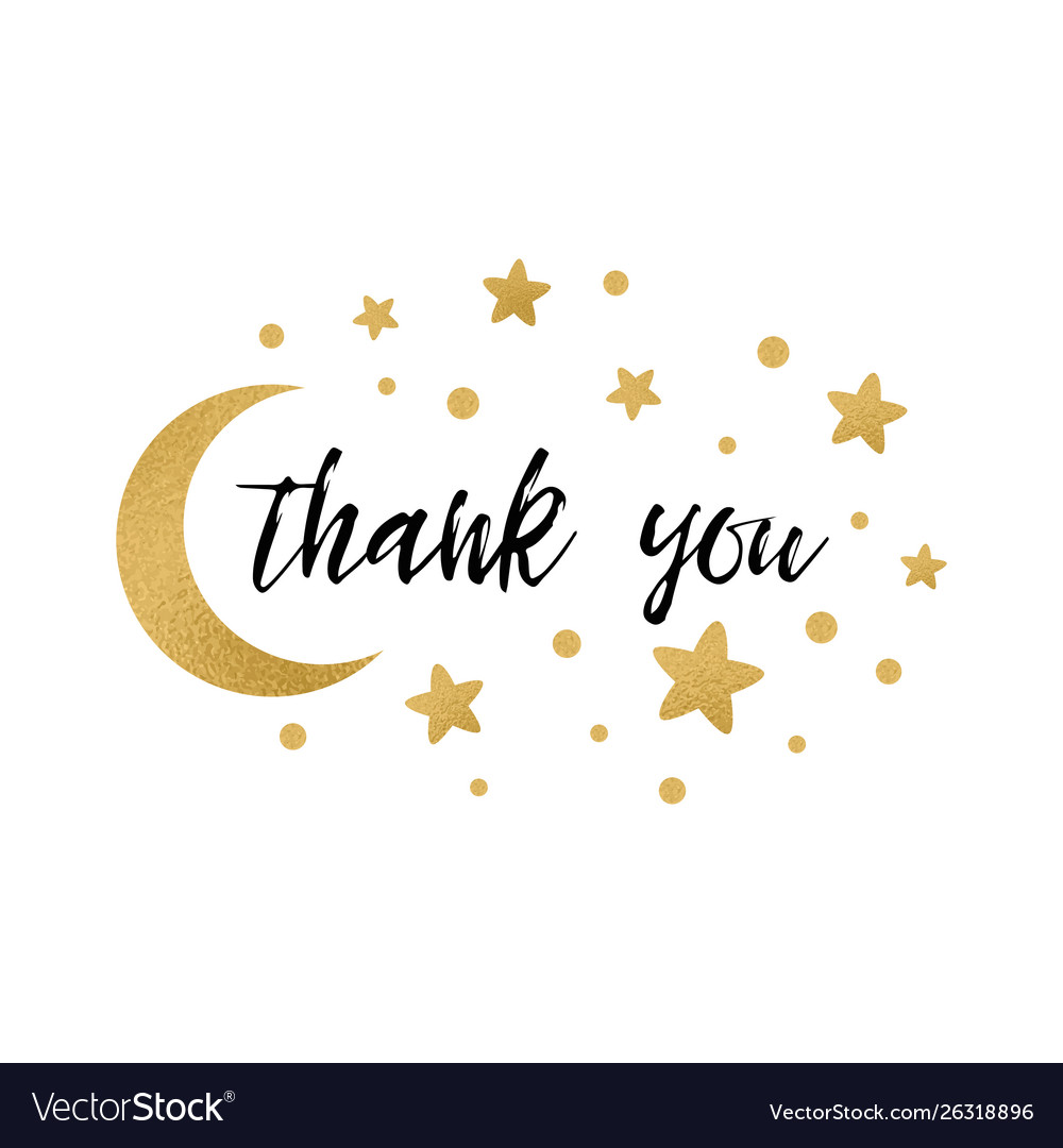 Phrase thank you decorated gold stars and