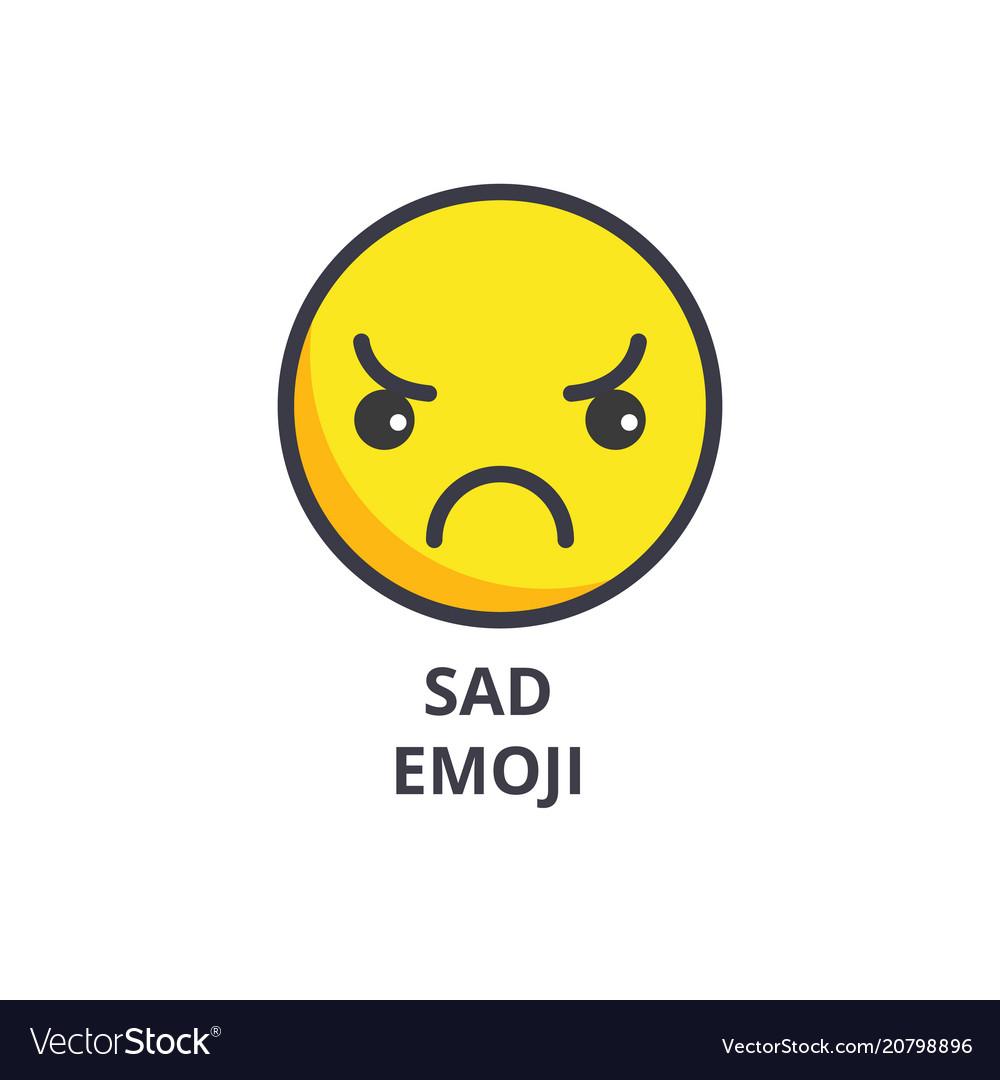 Sad emoji line icon sign on vector image