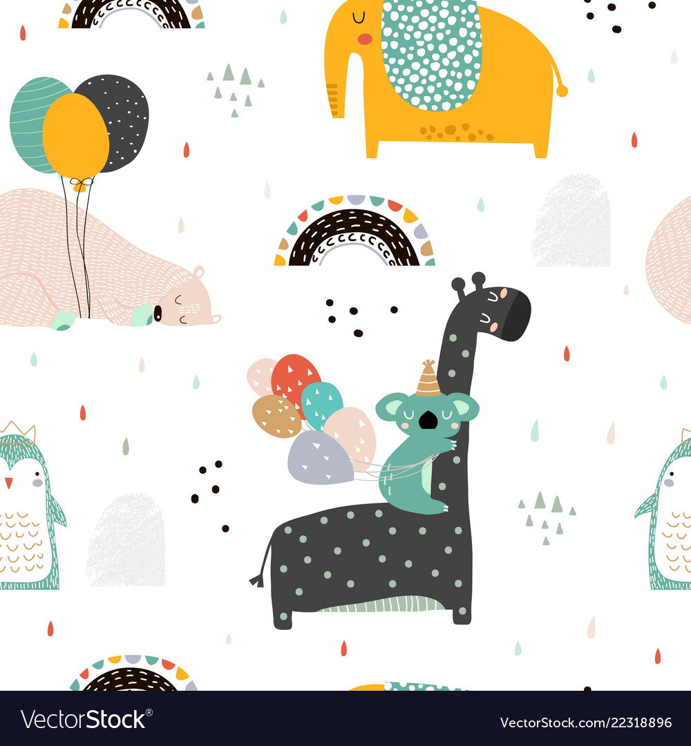 Seamless childish pattern with party animals