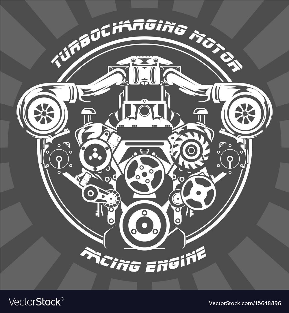 Turbocharging racing engine - power motor emblem