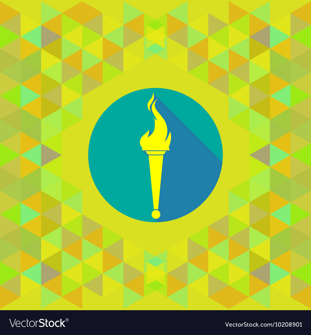 Abstract yellow burning torch on blue circle over vector image