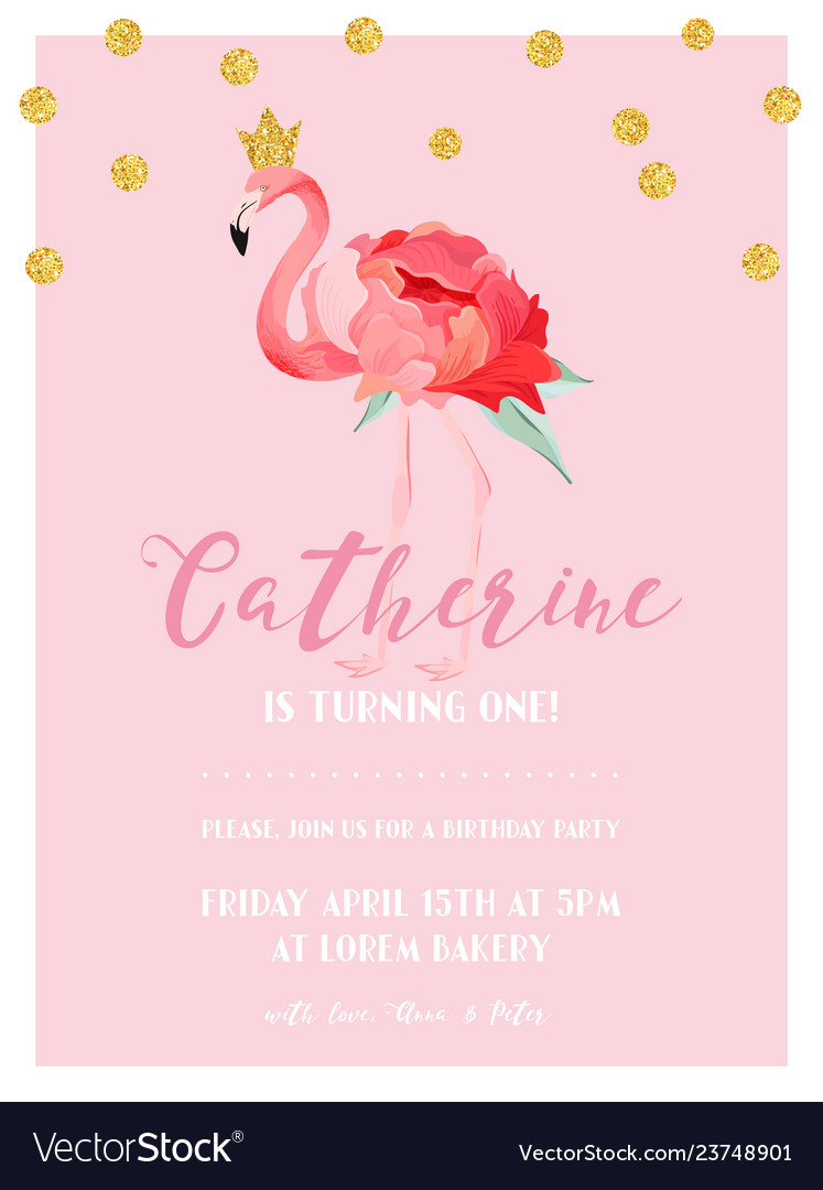 Baby Birthday Invitation Card With Flamingo Vector Image