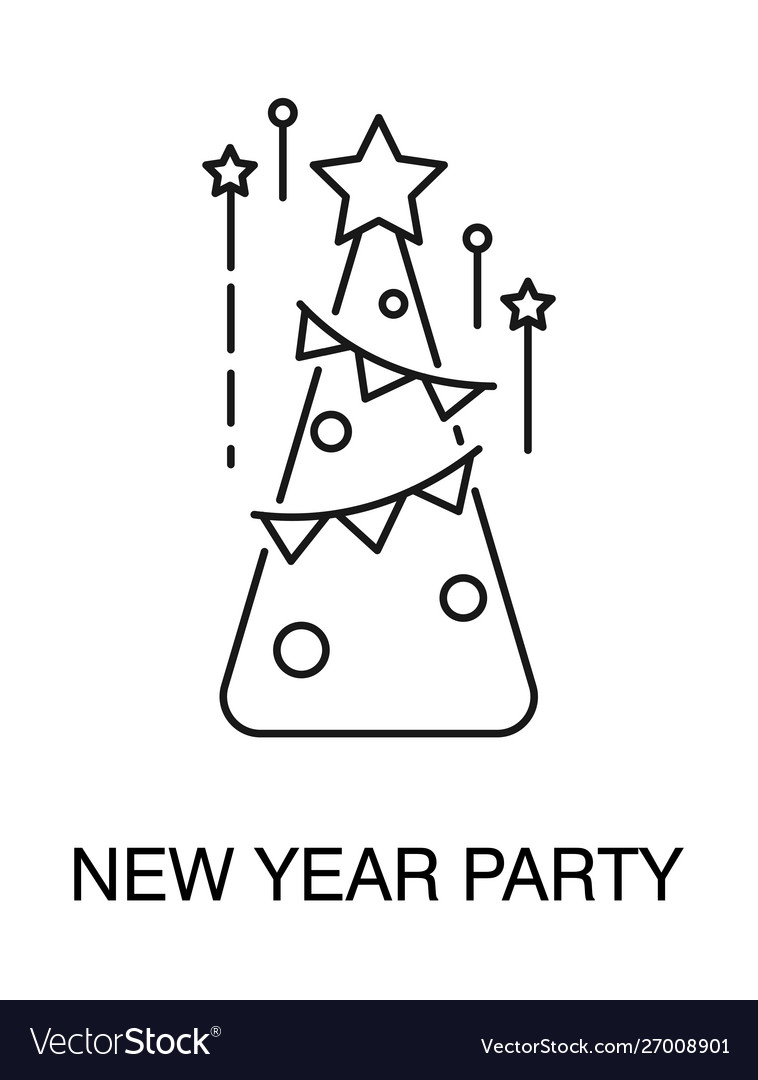 Christmas tree isolated outline icon new year
