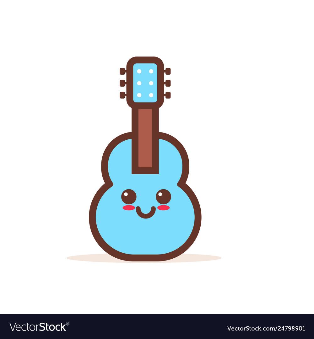 Cute blue classic wooden guitar cartoon comic