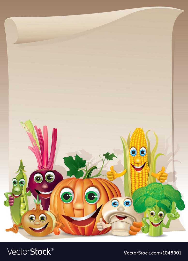 Funny vegetables cartoon company scroll vector image