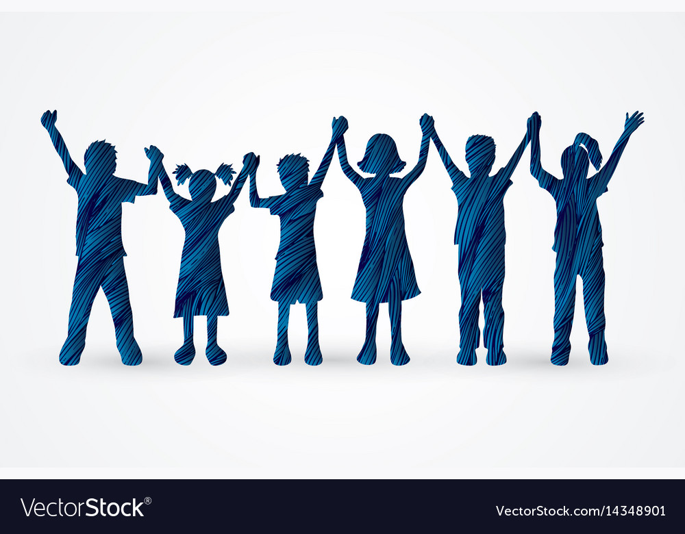 Group of children holding hands graphic