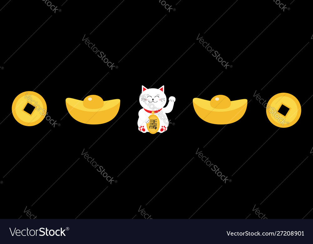 Lucky white cat sitting and holding golden coin