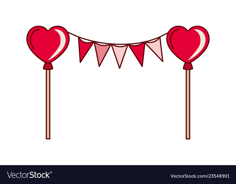 Party garland with hearts balloons isolated icon