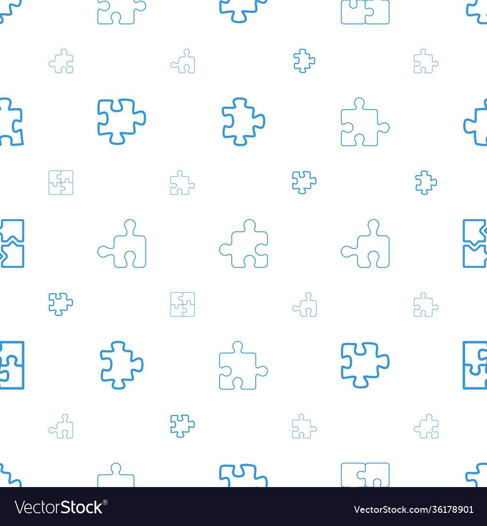Puzzle icons pattern seamless white background