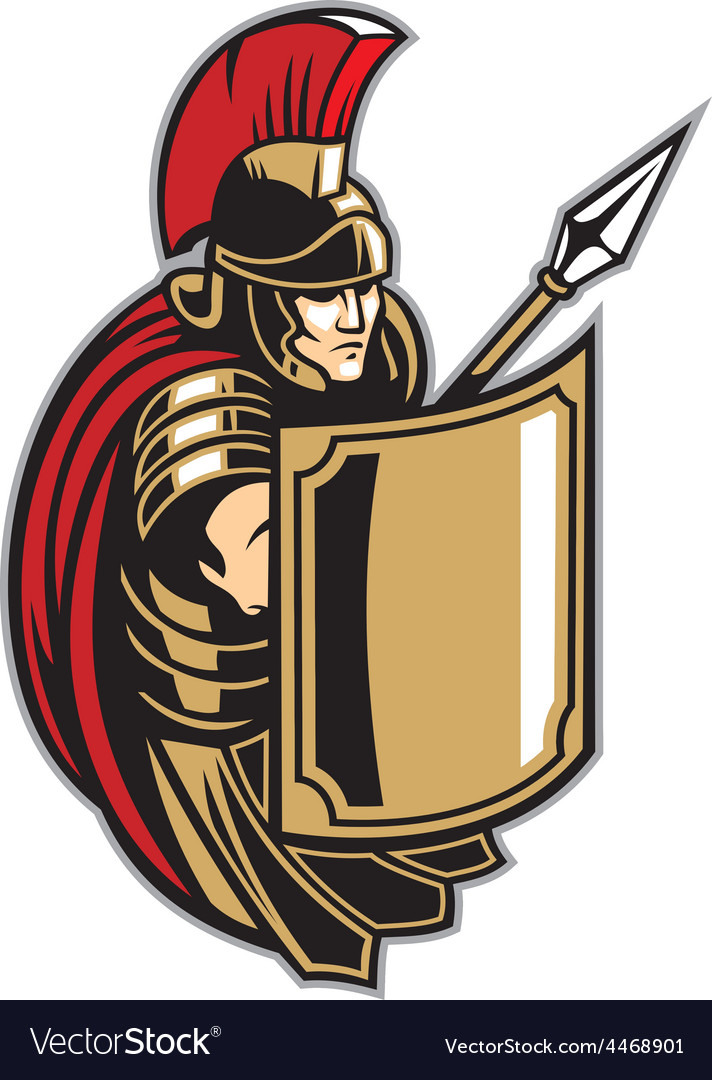 roman soldier with big shield royalty free vector image