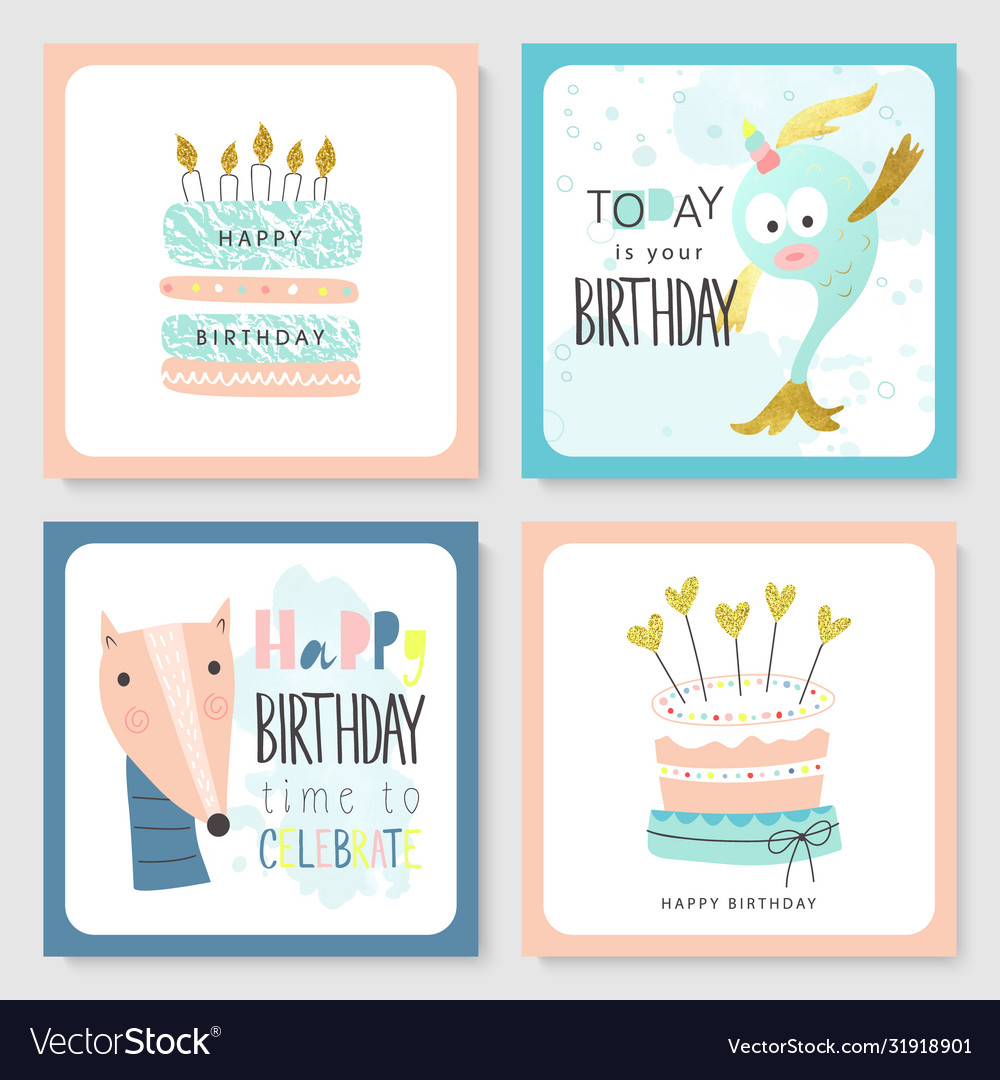 Set birthday greeting cards and party