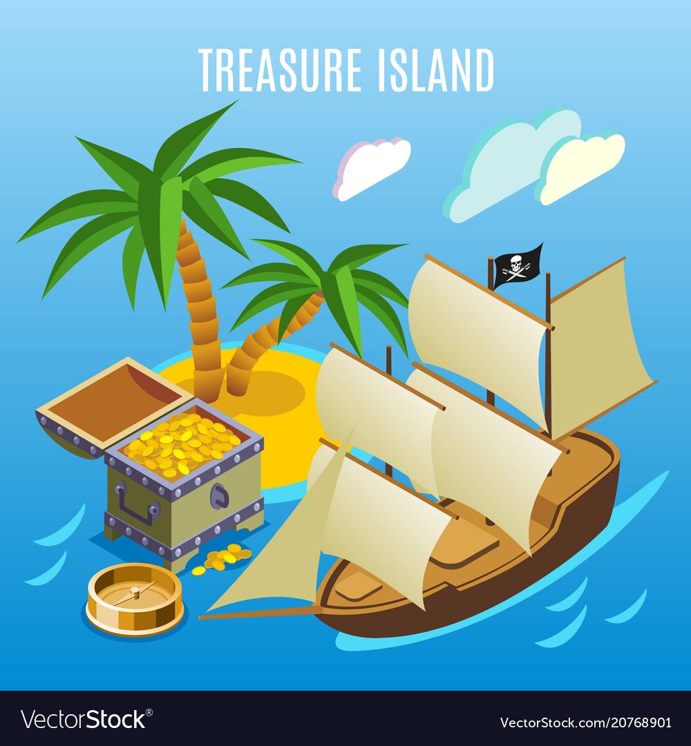 Treasure island isometric game background vector image