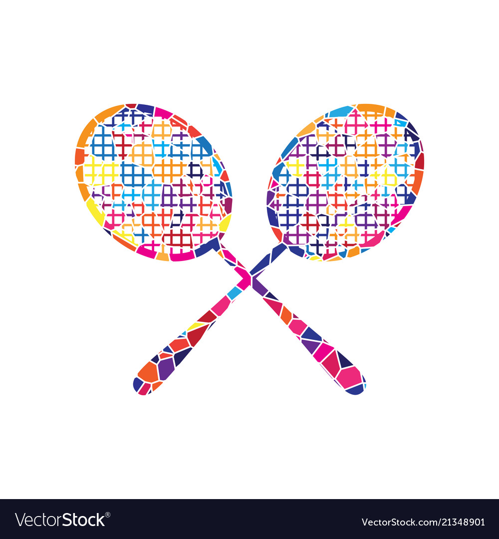 Two tennis racket sign stained glass icon