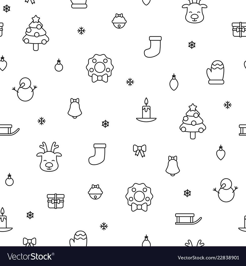 Various christmas items black simple outline