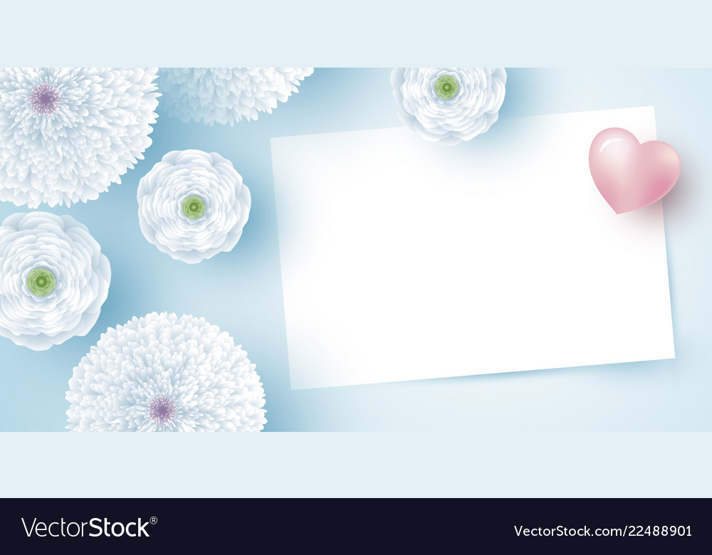 White flowers with blank paper and heart