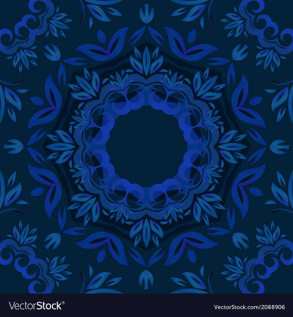 Abstract Blue Floral Background With Round Pattern