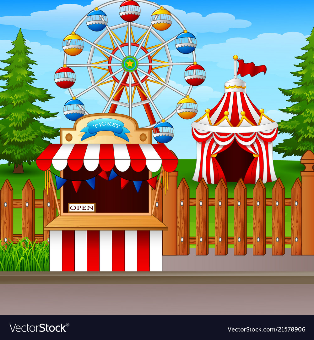 Amusement park with ferris wheel ticket booth and