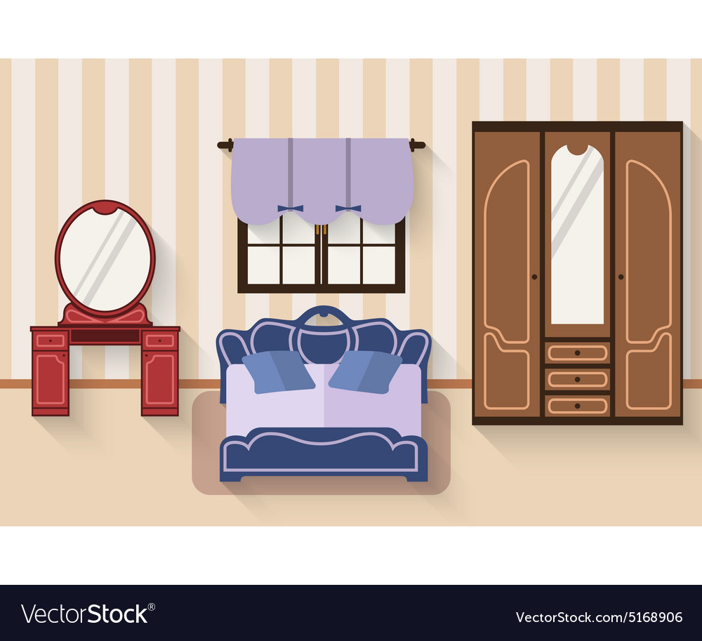 Bedroom with furniture and long shadows Flat
