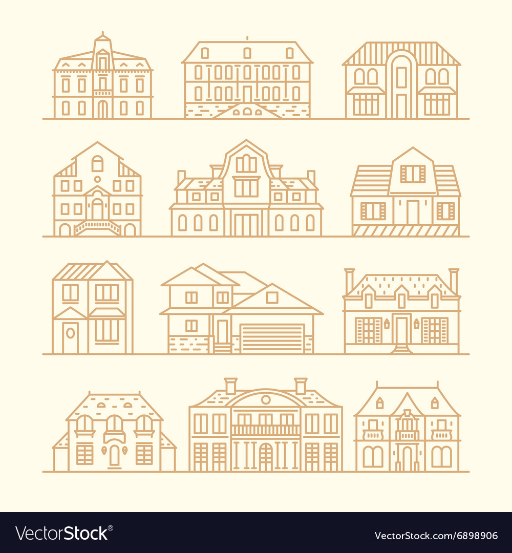 Big set houses icons elements linear style