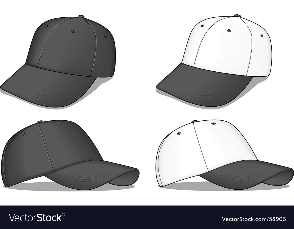 Black baseball caps vector image
