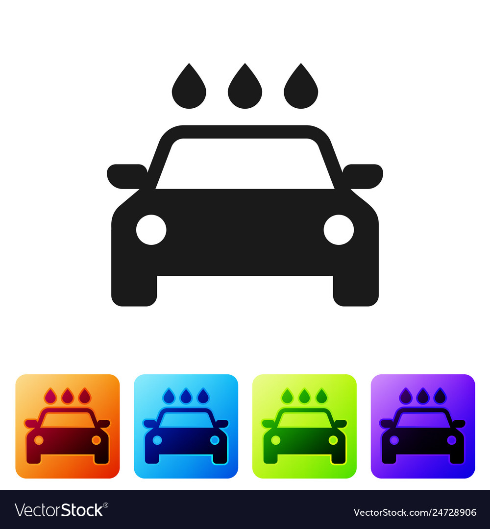 Black Car Wash Icon Isolated On White Background Vector Image