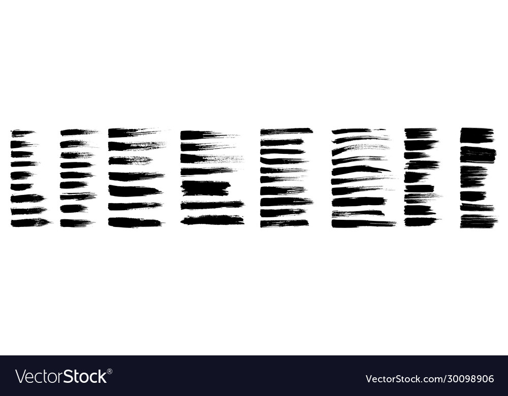 Brush strokes black ink lines abstract set