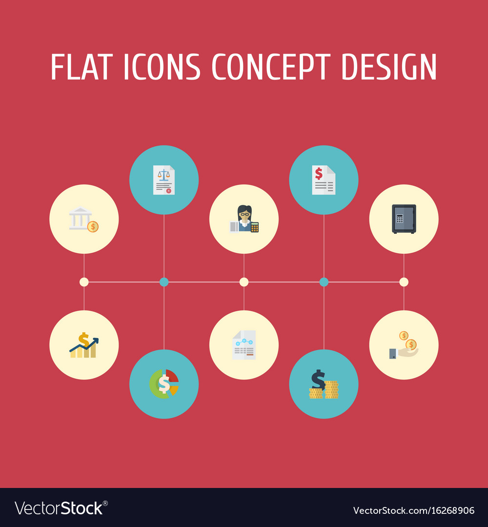 Flat icons safe act paper and other vector image