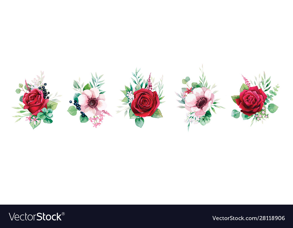 Floral romantic bouquets for wedding invite card