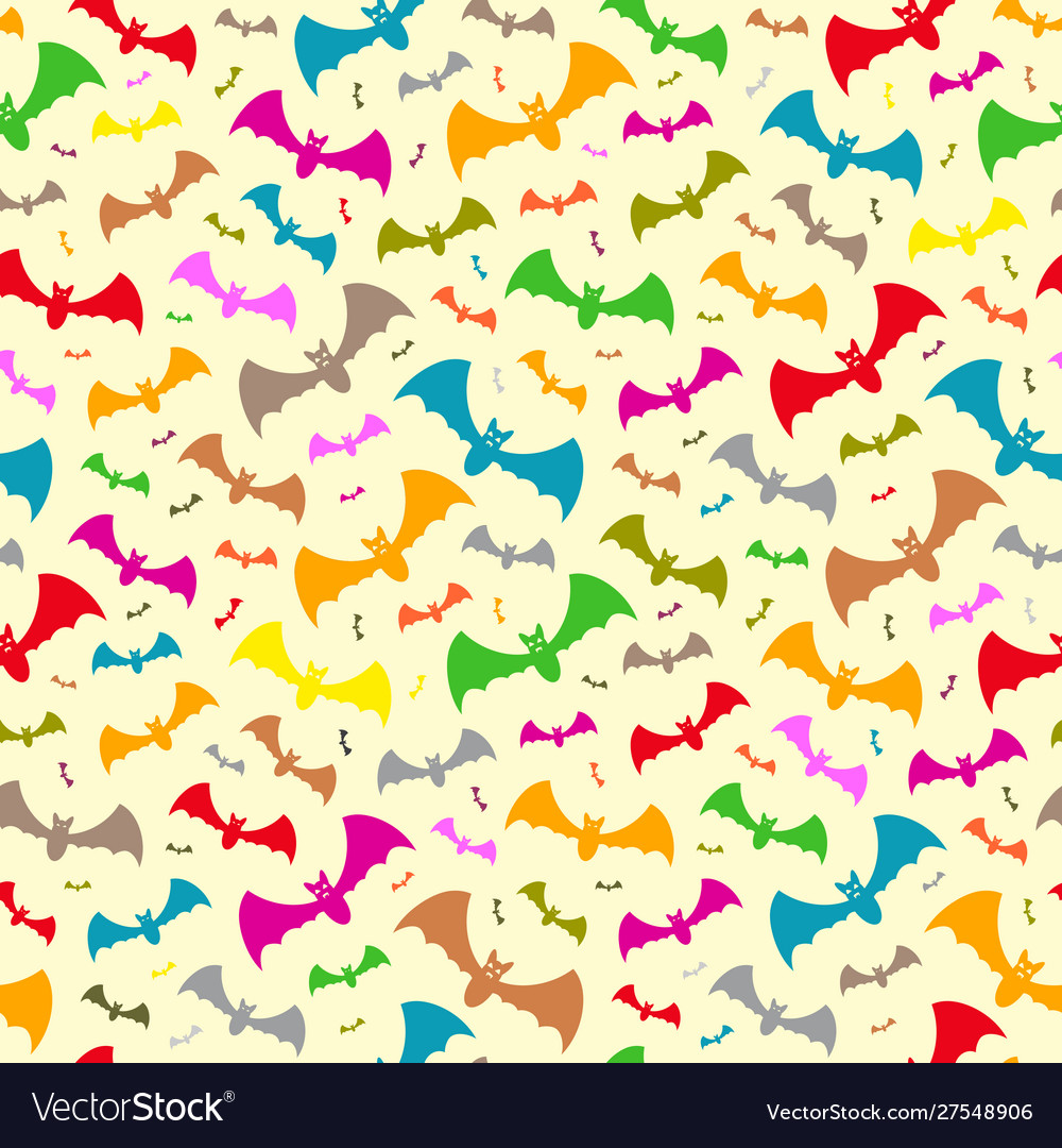 Halloween pattern colorful flying bats