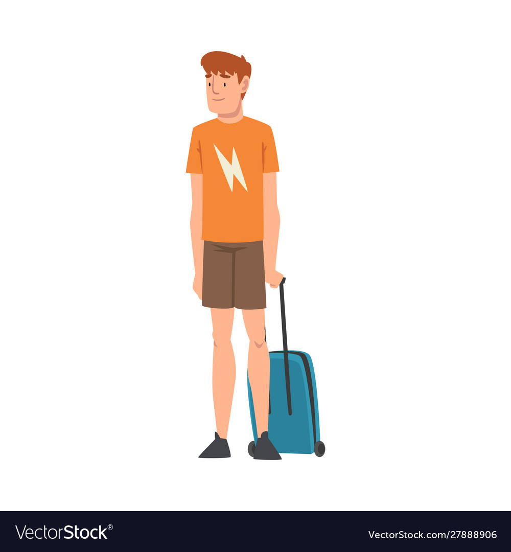 Male tourist standing with suitcase guy traveling