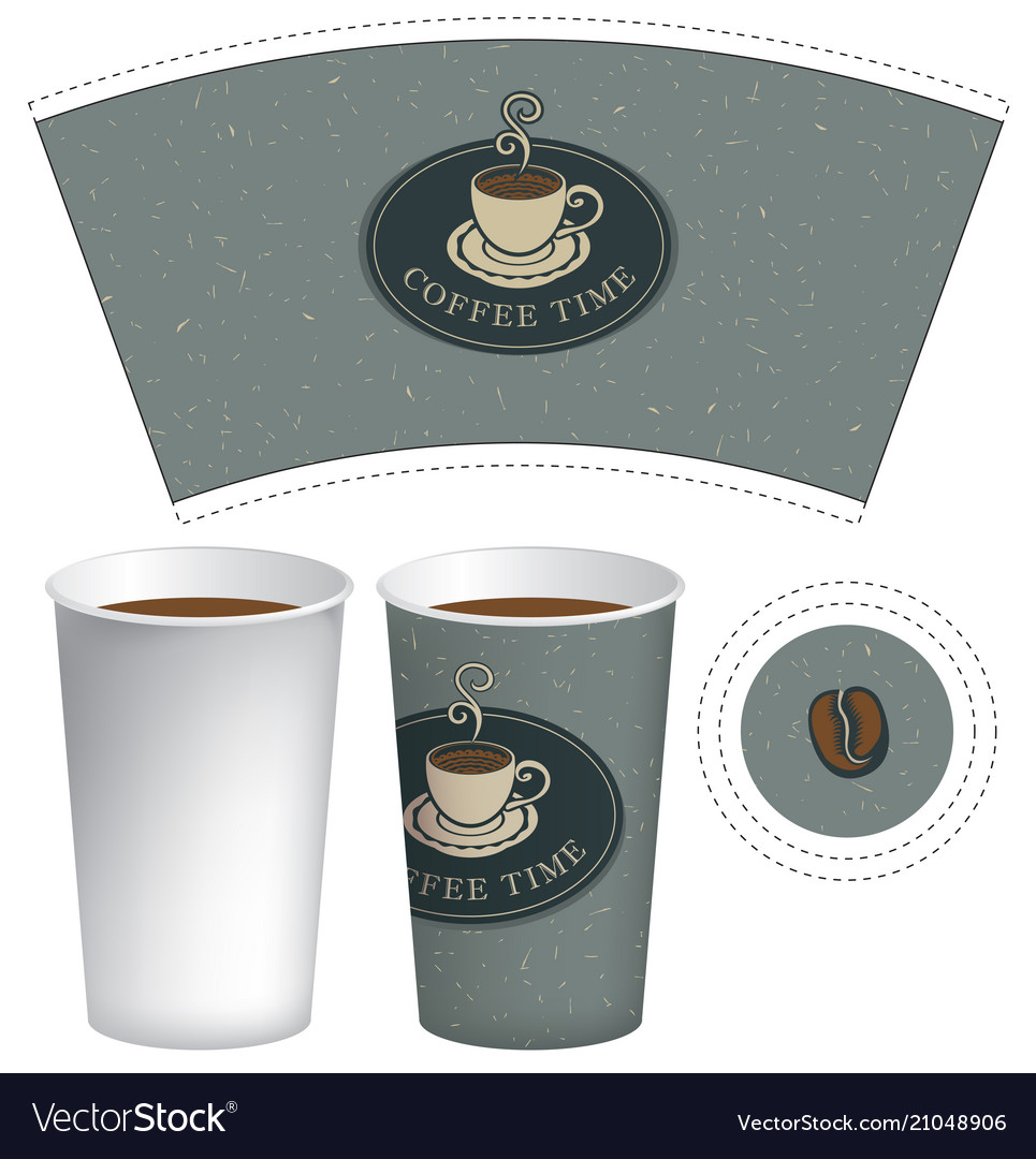 Paper Cup Template For Hot Drink With Coffee Vector Image
