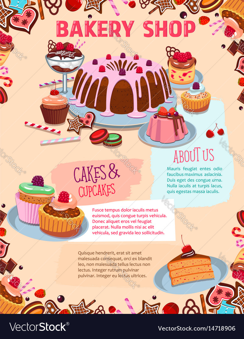 Poster for bakery shop cakes and desserts Vector Image